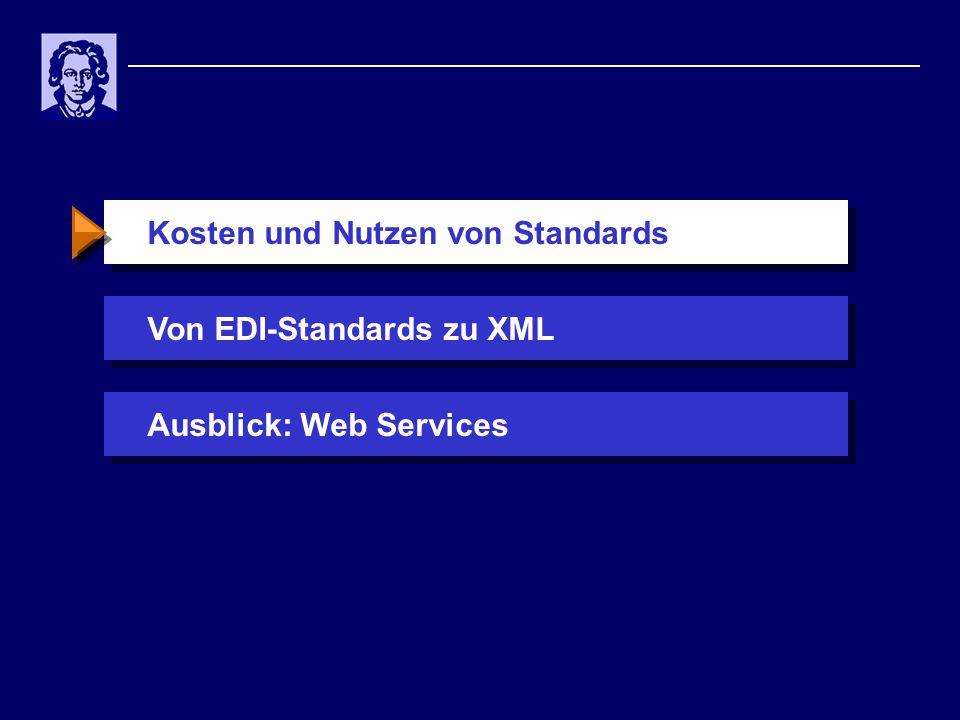 Kosten und Nutzen von StandardsVon EDI-Standards zu XMLAusblick: Web Services