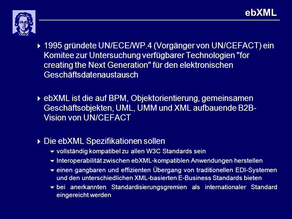 ebXML for creating the Next Generation  1995 gründete UN/ECE/WP.4 (Vorgänger von UN/CEFACT) ein Komitee zur Untersuchung verfügbarer Technologien for creating the Next Generation für den elektronischen Geschäftsdatenaustausch  ebXML ist die auf BPM, Objektorientierung, gemeinsamen Geschäftsobjekten, UML, UMM und XML aufbauende B2B- Vision von UN/CEFACT  Die ebXML Spezifikationen sollen  vollständig kompatibel zu allen W3C Standards sein  Interoperabilität zwischen ebXML-kompatiblen Anwendungen herstellen  einen gangbaren und effizienten Übergang von traditionellen EDI-Systemen und den unterschiedlichen XML-basierten E-Business Standards bieten  bei anerkannten Standardisierungsgremien als internationaler Standard eingereicht werden