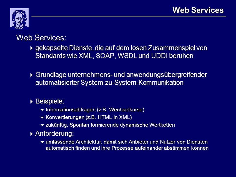 Web Services Web Services:  gekapselte Dienste, die auf dem losen Zusammenspiel von Standards wie XML, SOAP, WSDL und UDDI beruhen  Grundlage unternehmens- und anwendungsübergreifender automatisierter System-zu-System-Kommunikation  Beispiele:  Informationsabfragen (z.B.