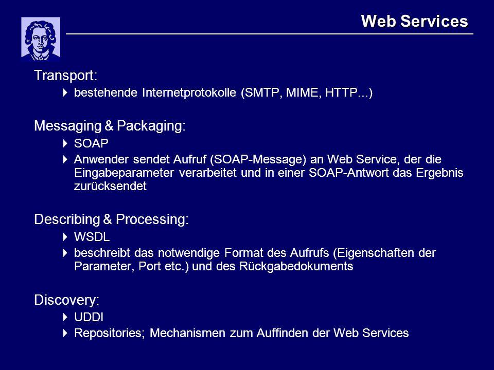 Web Services Transport:  bestehende Internetprotokolle (SMTP, MIME, HTTP...) Messaging & Packaging:  SOAP  Anwender sendet Aufruf (SOAP-Message) an Web Service, der die Eingabeparameter verarbeitet und in einer SOAP-Antwort das Ergebnis zurücksendet Describing & Processing:  WSDL  beschreibt das notwendige Format des Aufrufs (Eigenschaften der Parameter, Port etc.) und des Rückgabedokuments Discovery:  UDDI  Repositories; Mechanismen zum Auffinden der Web Services