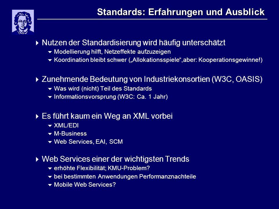 """Standards: Erfahrungen und Ausblick  Nutzen der Standardisierung wird häufig unterschätzt  Modellierung hilft, Netzeffekte aufzuzeigen  Koordination bleibt schwer (""""Allokationsspiele ,aber: Kooperationsgewinne!)  Zunehmende Bedeutung von Industriekonsortien (W3C, OASIS)  Was wird (nicht) Teil des Standards  Informationsvorsprung (W3C: Ca."""