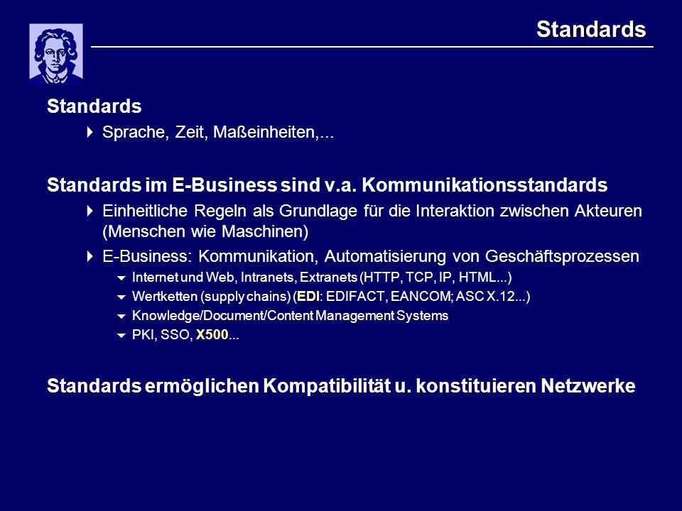 Standards Standards  Sprache, Zeit, Maßeinheiten,... Standards im E-Business sind v.a. Kommunikationsstandards  Einheitliche Regeln als Grundlage fü