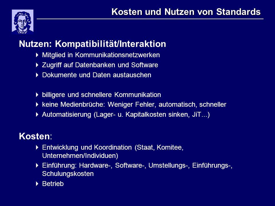 Kosten und Nutzen von Standards Nutzen: Kompatibilität/Interaktion  Mitglied in Kommunikationsnetzwerken  Zugriff auf Datenbanken und Software  Dok
