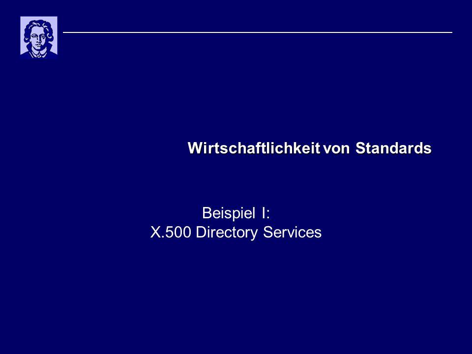 Wirtschaftlichkeit von Standards Beispiel I: X.500 Directory Services
