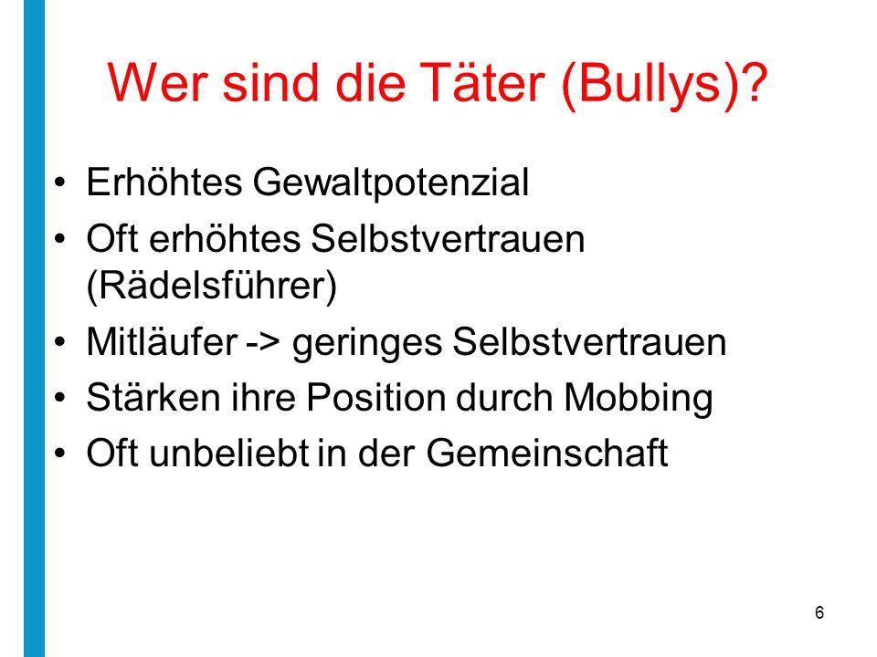 Wer sind die Täter (Bullys)? Erhöhtes Gewaltpotenzial Oft erhöhtes Selbstvertrauen (Rädelsführer) Mitläufer -> geringes Selbstvertrauen Stärken ihre P