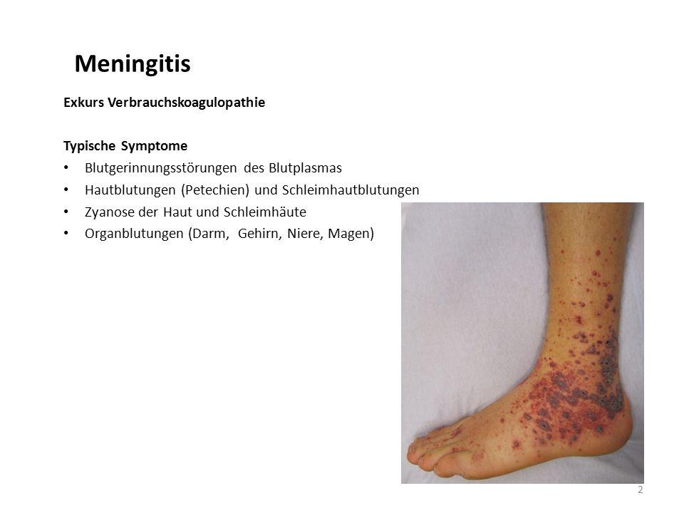 Meningitis Exkurs Verbrauchskoagulopathie Typische Symptome Blutgerinnungsstörungen des Blutplasmas Hautblutungen (Petechien) und Schleimhautblutungen Zyanose der Haut und Schleimhäute Organblutungen (Darm, Gehirn, Niere, Magen) 2