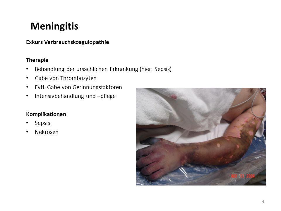 Meningitis Exkurs Verbrauchskoagulopathie Therapie Behandlung der ursächlichen Erkrankung (hier: Sepsis) Gabe von Thrombozyten Evtl.