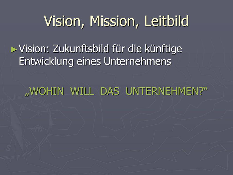 """Vision, Mission, Leitbild ► Vision: Zukunftsbild für die künftige Entwicklung eines Unternehmens """"WOHIN WILL DAS UNTERNEHMEN?"""""""