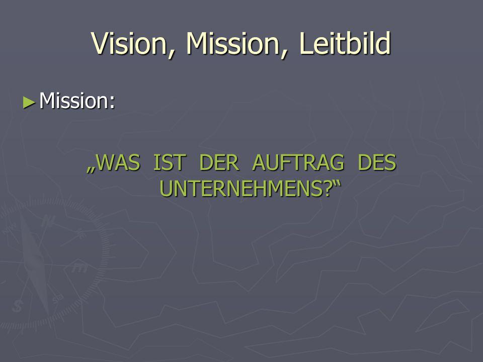 """Vision, Mission, Leitbild ► Mission: """"WAS IST DER AUFTRAG DES UNTERNEHMENS?"""""""