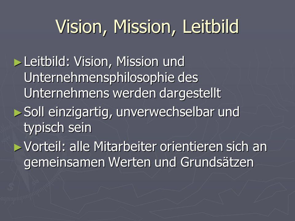 Vision, Mission, Leitbild ► Leitbild: Vision, Mission und Unternehmensphilosophie des Unternehmens werden dargestellt ► Soll einzigartig, unverwechsel