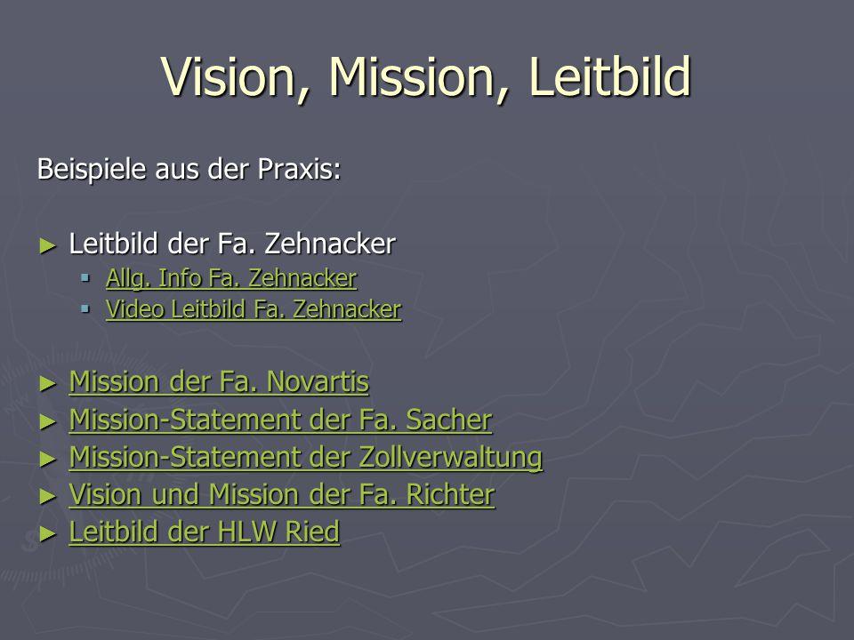 Vision, Mission, Leitbild Beispiele aus der Praxis: ► Leitbild der Fa. Zehnacker  Allg. Info Fa. Zehnacker Allg. Info Fa. Zehnacker Allg. Info Fa. Ze