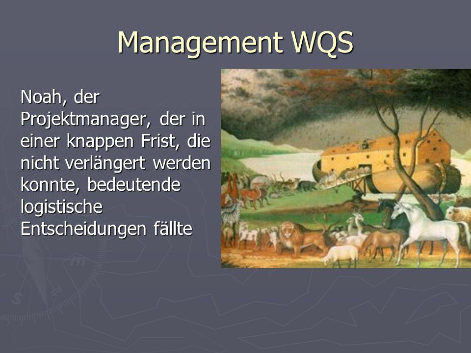 Management WQS Noah, der Projektmanager, der in einer knappen Frist, die nicht verlängert werden konnte, bedeutende logistische Entscheidungen fällte