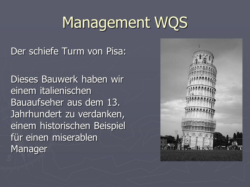 Management WQS Der schiefe Turm von Pisa: Dieses Bauwerk haben wir einem italienischen Bauaufseher aus dem 13. Jahrhundert zu verdanken, einem histori