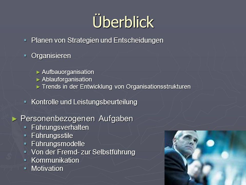Überblick  Planen von Strategien und Entscheidungen  Organisieren ► Aufbauorganisation ► Ablauforganisation ► Trends in der Entwicklung von Organisa