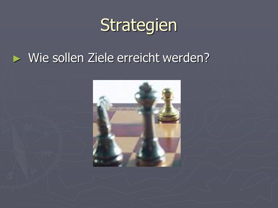 Strategien ► Wie sollen Ziele erreicht werden?