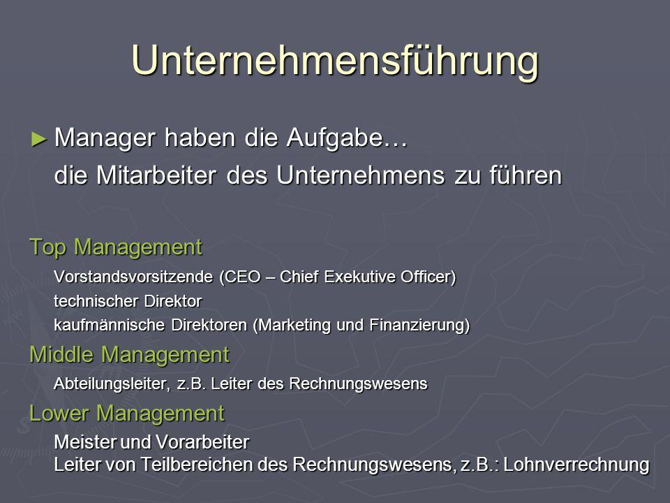 Unternehmensführung ► Manager haben die Aufgabe… die Mitarbeiter des Unternehmens zu führen Top Management Vorstandsvorsitzende (CEO – Chief Exekutive