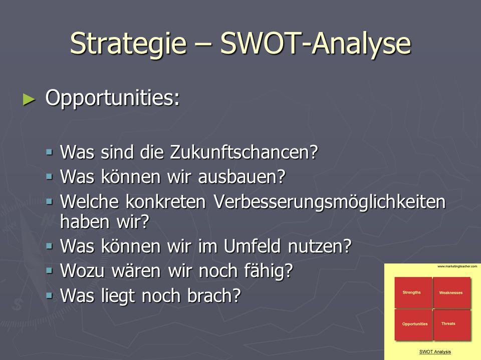 Strategie – SWOT-Analyse ► Opportunities:  Was sind die Zukunftschancen?  Was können wir ausbauen?  Welche konkreten Verbesserungsmöglichkeiten hab