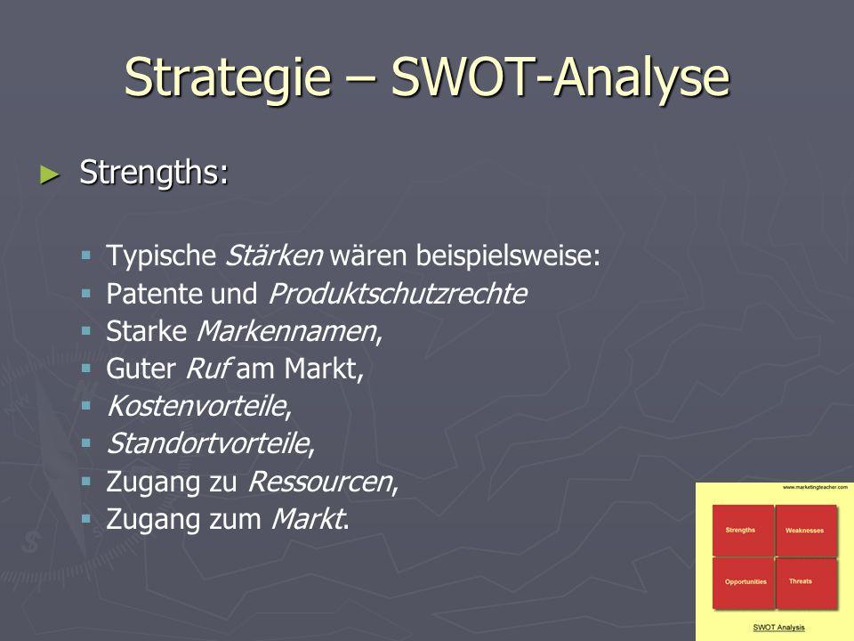 Strategie – SWOT-Analyse ► Strengths:   Typische Stärken wären beispielsweise:   Patente und Produktschutzrechte   Starke Markennamen,   Guter