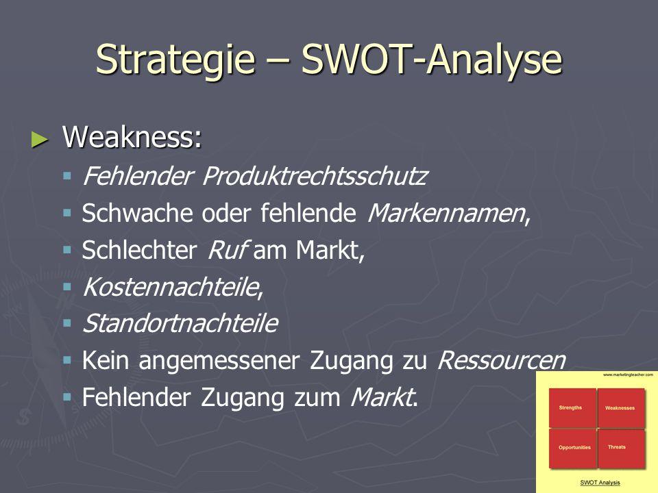 Strategie – SWOT-Analyse ► Weakness:   Fehlender Produktrechtsschutz   Schwache oder fehlende Markennamen,   Schlechter Ruf am Markt,   Kosten