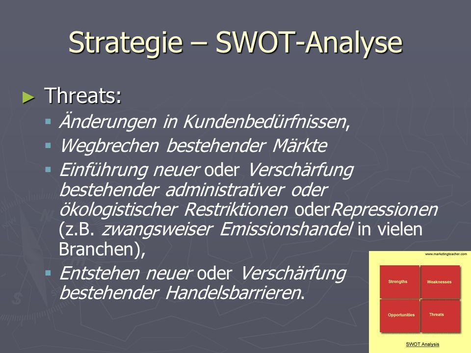Strategie – SWOT-Analyse ► Threats:   Änderungen in Kundenbedürfnissen,   Wegbrechen bestehender Märkte   Einführung neuer oder Verschärfung bes