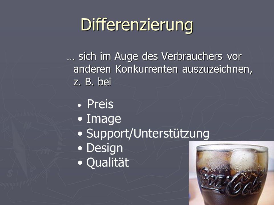Differenzierung … sich im Auge des Verbrauchers vor anderen Konkurrenten auszuzeichnen, z. B. bei Preis Image Support/Unterstützung Design Qualität
