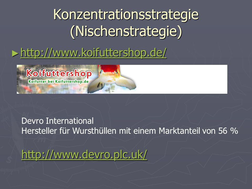 Konzentrationsstrategie (Nischenstrategie) ► http://www.koifuttershop.de/ http://www.koifuttershop.de/ Devro International Hersteller für Wursthüllen