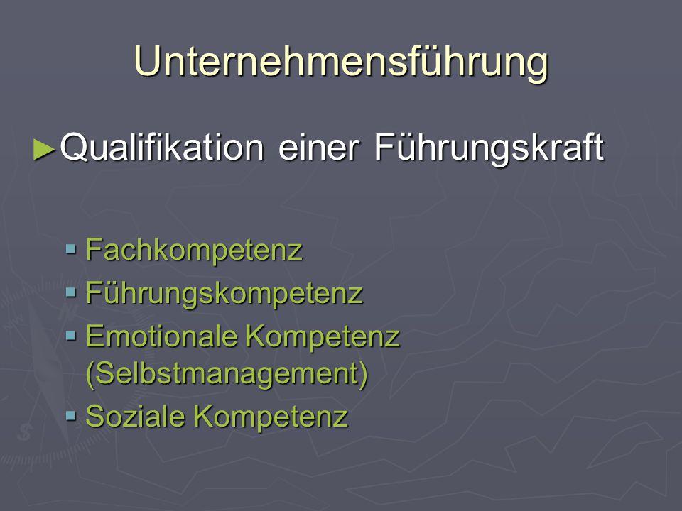 Unternehmensführung ► Qualifikation einer Führungskraft  Fachkompetenz  Führungskompetenz  Emotionale Kompetenz (Selbstmanagement)  Soziale Kompet