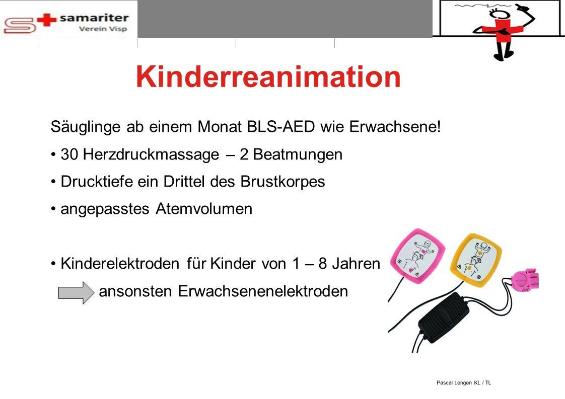BLS-AED REPE 2012 12 © Schweizerischer Samariterbund Kinderreanimation Säuglinge ab einem Monat BLS-AED wie Erwachsene! 30 Herzdruckmassage – 2 Beatmu