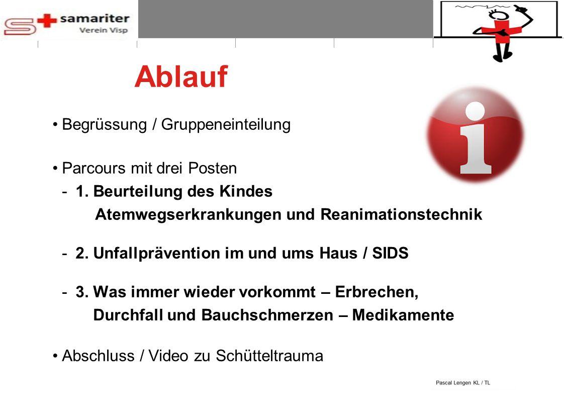 BLS-AED REPE 2012 2 © Schweizerischer Samariterbund Ablauf Begrüssung / Gruppeneinteilung Parcours mit drei Posten -1. Beurteilung des Kindes Atemwegs