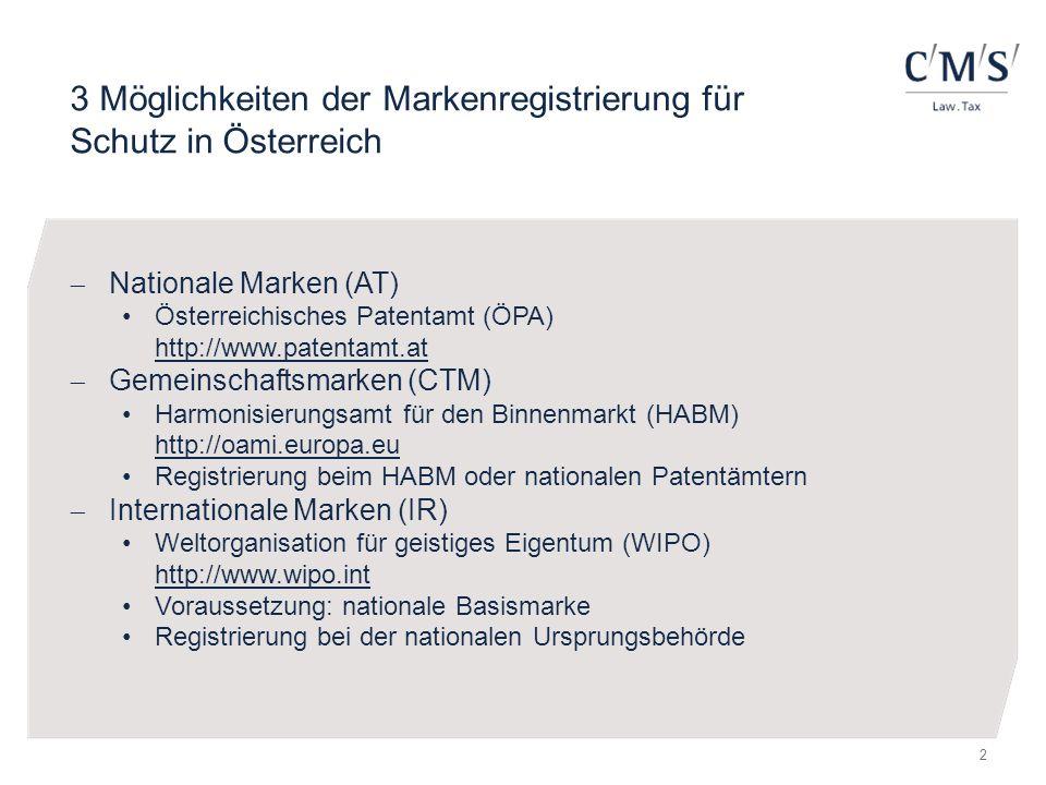 3 Möglichkeiten der Markenregistrierung für Schutz in Österreich  Nationale Marken (AT) Österreichisches Patentamt (ÖPA) http://www.patentamt.at  Ge