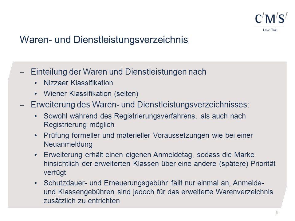 Waren- und Dienstleistungsverzeichnis  Einteilung der Waren und Dienstleistungen nach Nizzaer Klassifikation Wiener Klassifikation (selten)  Erweite