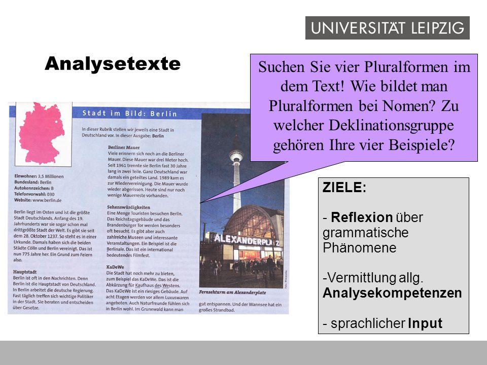 Analysetexte ZIELE: - Reflexion über grammatische Phänomene -Vermittlung allg. Analysekompetenzen - sprachlicher Input Suchen Sie vier Pluralformen im