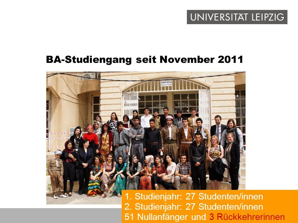 BA-Studiengang seit November 2011 1. Studienjahr: 27 Studenten/innen 2. Studienjahr: 27 Studenten/innen 51 Nullanfänger und 3 Rückkehrerinnen