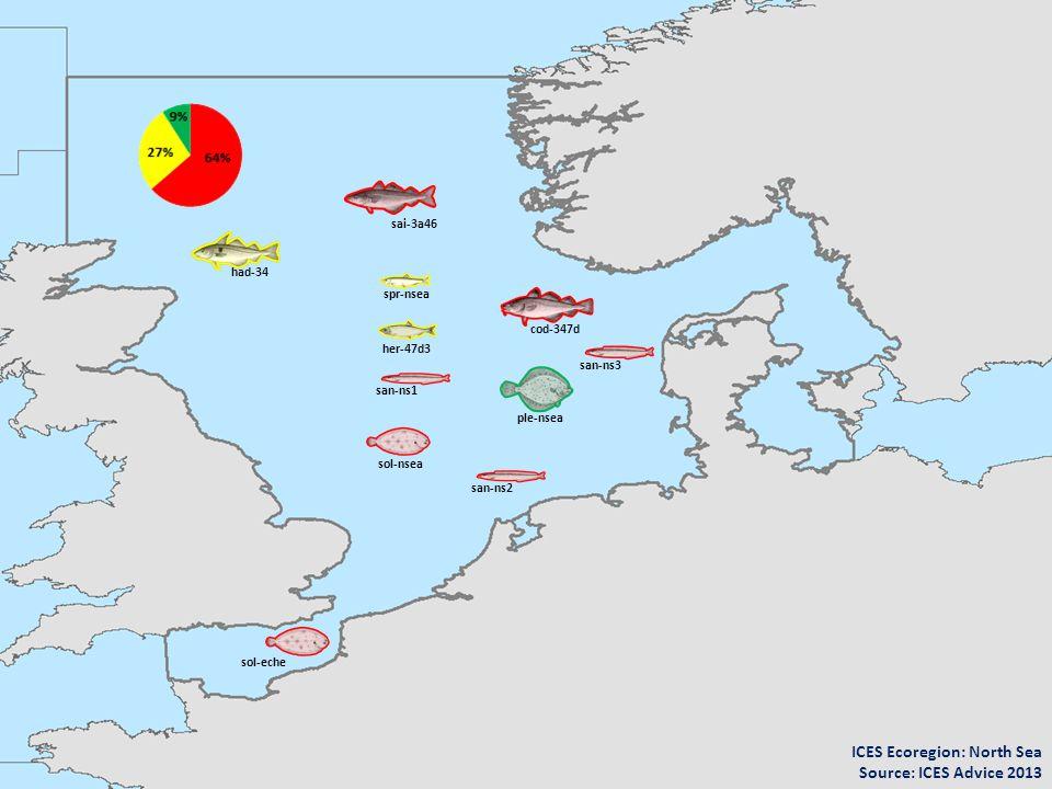 cod-347d spr-nsea her-47d3 ple-nsea sol-nsea had-34 sai-3a46 san-ns2 san-ns3 san-ns1 sol-eche ICES Ecoregion: North Sea Source: ICES Advice 2013