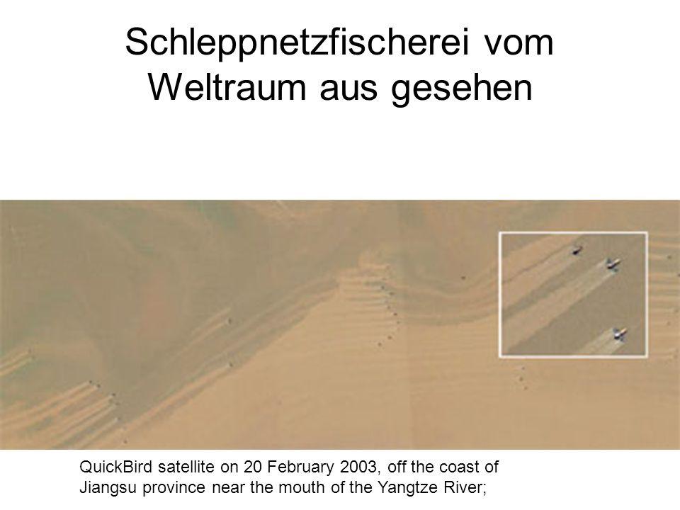 Schleppnetzfischerei vom Weltraum aus gesehen QuickBird satellite on 20 February 2003, off the coast of Jiangsu province near the mouth of the Yangtze