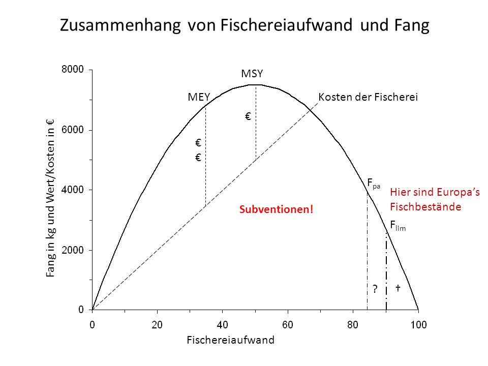 Zusammenhang von Fischereiaufwand und Fang MSY Kosten der Fischerei € €€€€ MEY F pa ? F lim † Hier sind Europa's Fischbestände Fischereiaufwand Fang i