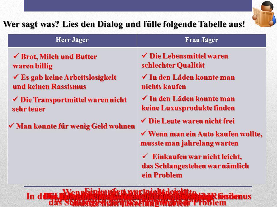 Wer sagt was? Lies den Dialog und fülle folgende Tabelle aus! Herr JägerFrau Jäger Die Lebensmittel waren schlechter Qualität Die Lebensmittel waren s