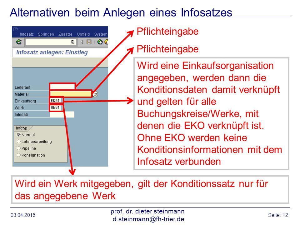 Alternativen beim Anlegen eines Infosatzes 03.04.2015 prof. dr. dieter steinmann d.steinmann@fh-trier.de Seite: 12 Pflichteingabe Wird eine Einkaufsor