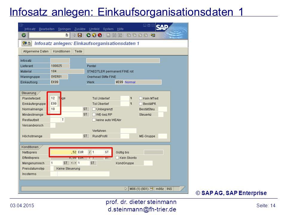 Infosatz anlegen: Einkaufsorganisationsdaten 1 03.04.2015 prof. dr. dieter steinmann d.steinmann@fh-trier.de Seite: 14 © SAP AG, SAP Enterprise