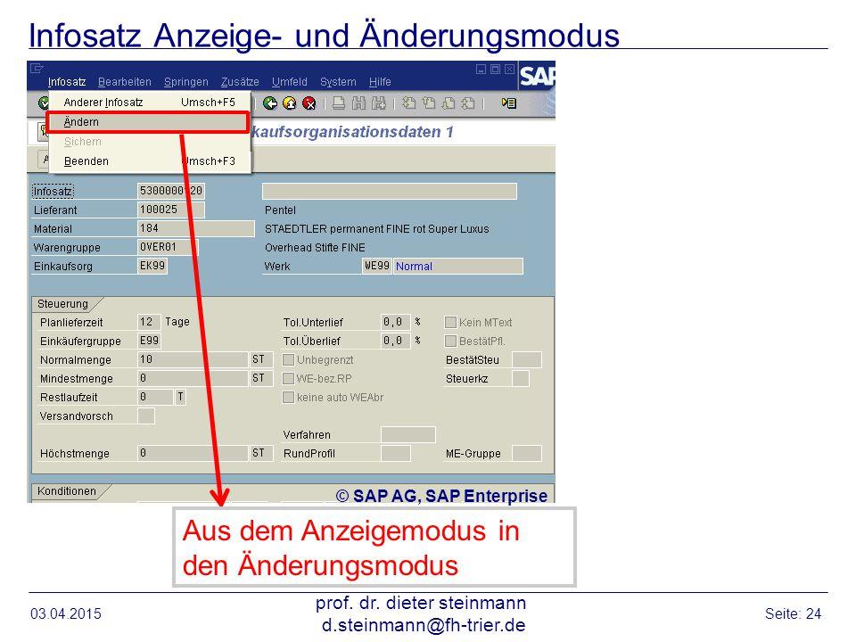 Infosatz Anzeige- und Änderungsmodus 03.04.2015 prof. dr. dieter steinmann d.steinmann@fh-trier.de Seite: 24 Aus dem Anzeigemodus in den Änderungsmodu
