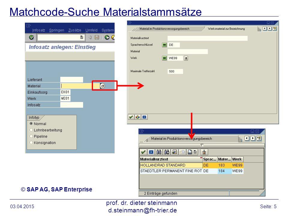 Matchcode-Suche Materialstammsätze 03.04.2015 prof. dr. dieter steinmann d.steinmann@fh-trier.de Seite: 5 © SAP AG, SAP Enterprise