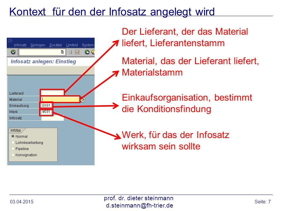 Kontext für den der Infosatz angelegt wird 03.04.2015 prof. dr. dieter steinmann d.steinmann@fh-trier.de Seite: 7 Der Lieferant, der das Material lief