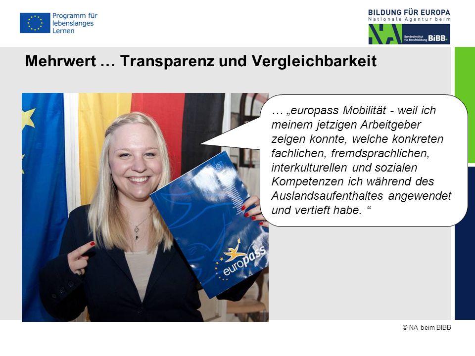 """© NA beim BIBB Mehrwert … Transparenz und Vergleichbarkeit … """"europass Mobilität - weil ich meinem jetzigen Arbeitgeber zeigen konnte, welche konkrete"""