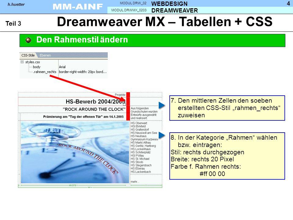 DREAMWEAVER MODUL DRWMX_0203 WEBDESIGN MODUL DRW_02 h.huetter 4 Dreamweaver MX – Tabellen + CSS Teil 3 Den Rahmenstil ändern 7. Den mittleren Zellen d