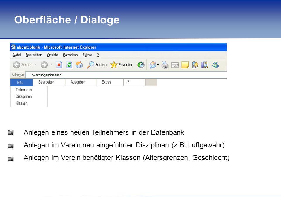 Oberfläche / Dialoge Anlegen eines neuen Teilnehmers in der Datenbank Anlegen im Verein neu eingeführter Disziplinen (z.B. Luftgewehr) Anlegen im Vere
