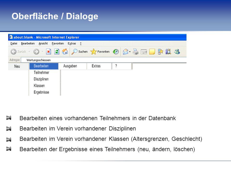 Oberfläche / Dialoge Bearbeiten eines vorhandenen Teilnehmers in der Datenbank Bearbeiten im Verein vorhandener Disziplinen Bearbeiten im Verein vorhandener Klassen (Altersgrenzen, Geschlecht) Bearbeiten der Ergebnisse eines Teilnehmers (neu, ändern, löschen)