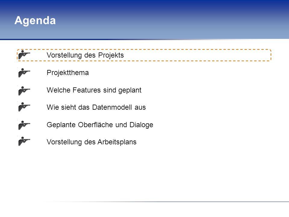 Agenda Vorstellung des Projekts Projektthema Welche Features sind geplant Wie sieht das Datenmodell aus Geplante Oberfläche und Dialoge Vorstellung des Arbeitsplans