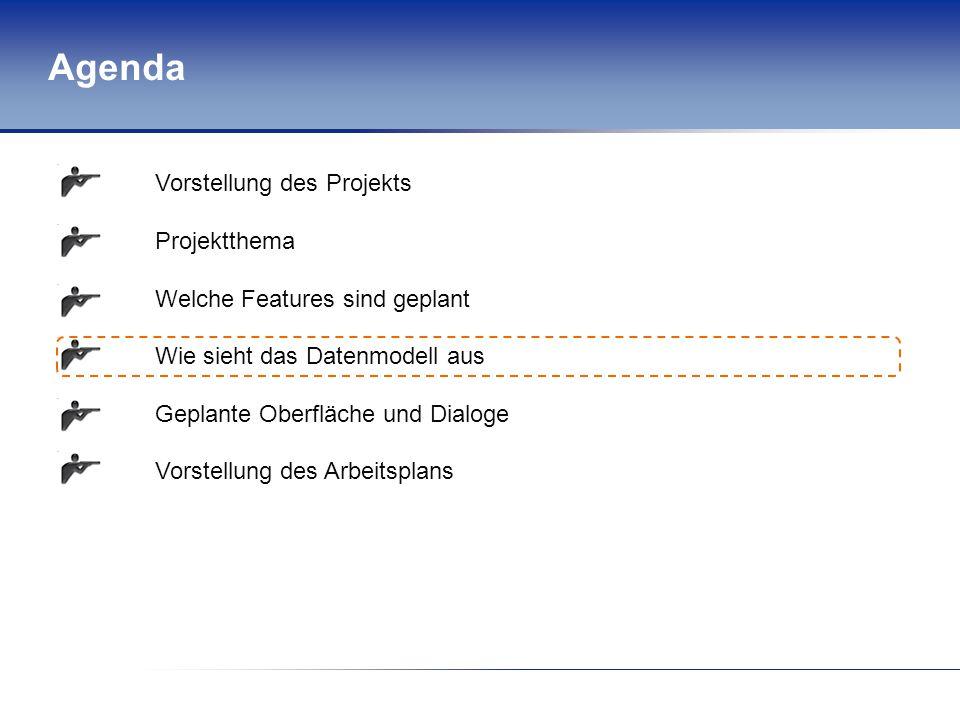 Agenda Vorstellung des Projekts Projektthema Welche Features sind geplant Wie sieht das Datenmodell aus Geplante Oberfläche und Dialoge Vorstellung de