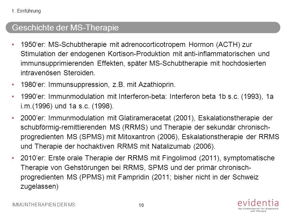 Geschichte der MS-Therapie 1950'er: MS-Schubtherapie mit adrenocorticotropem Hormon (ACTH) zur Stimulation der endogenen Kortison-Produktion mit anti-