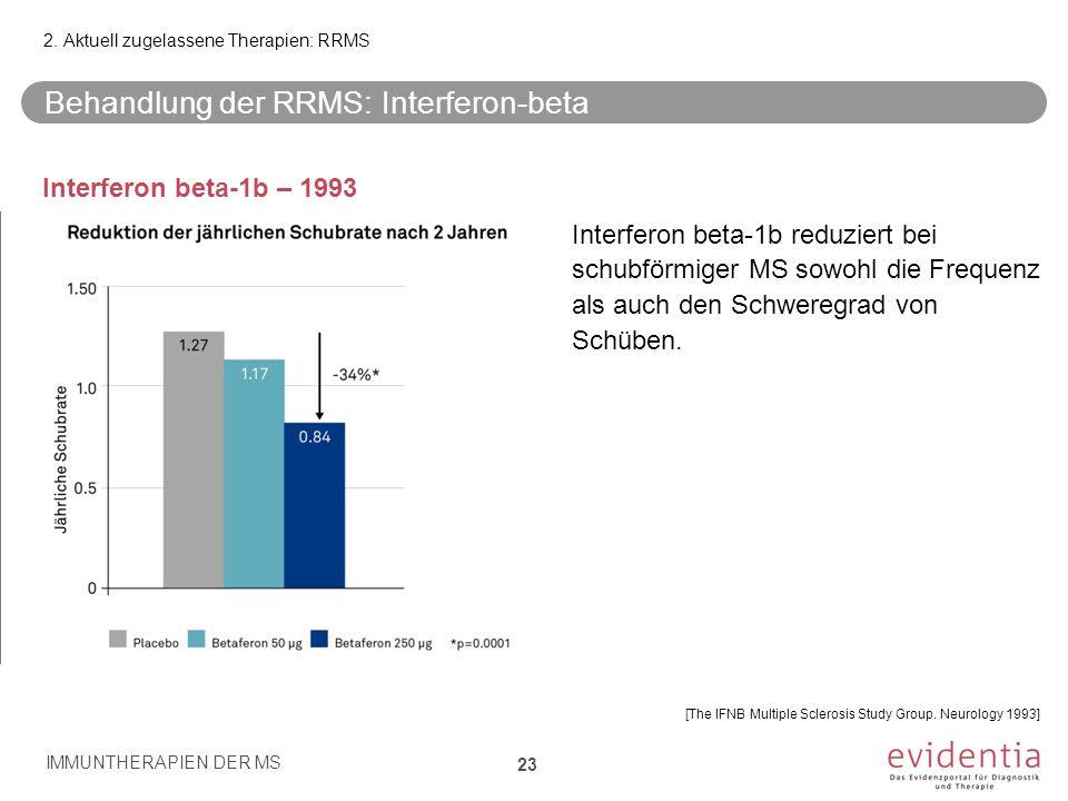Behandlung der RRMS: Interferon-beta Interferon beta-1b – 1993 Interferon beta-1b reduziert bei schubförmiger MS sowohl die Frequenz als auch den Schw